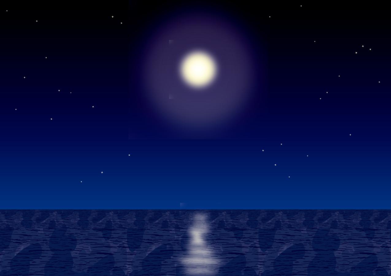 夜の海を照らす月